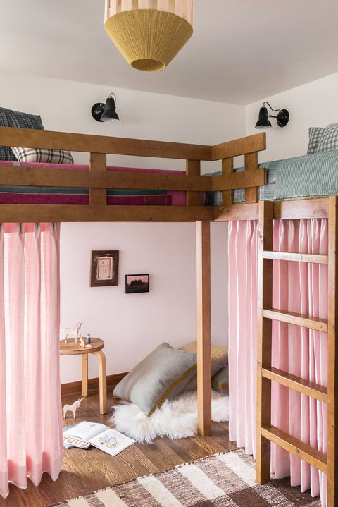 Bed, Room, Furniture, Bedroom, Property, Pink, Interior design, Ceiling, Product, Bedding,