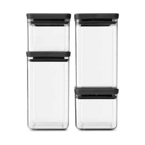 brabantia tasty voorraadbussenset stapelbaar   2x 0,7 l   2x 1,6 l   dark grey