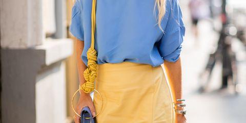 Street fashion, Blue, Clothing, Yellow, White, Fashion, Cobalt blue, Waist, Electric blue, Shirt,