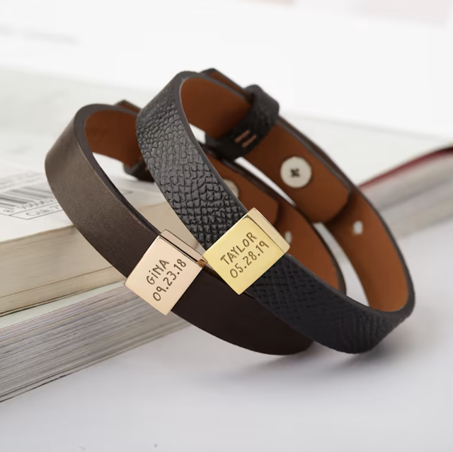 leather bracelets with names and dates on them