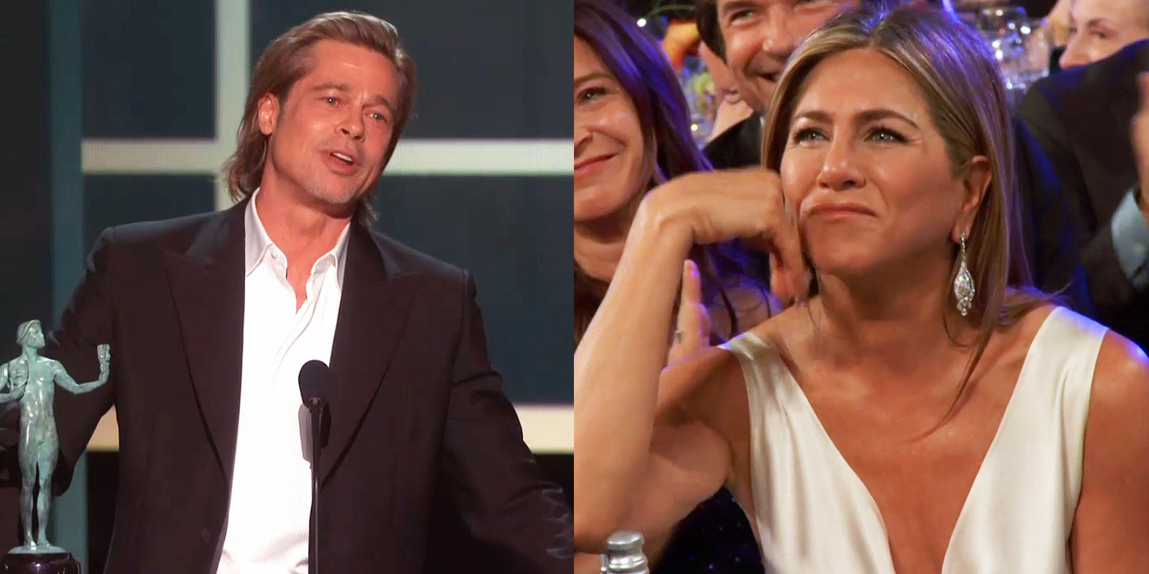 Jennifer Aniston Reacts to Brad Pitt's Marriage Joke During SAG Speech