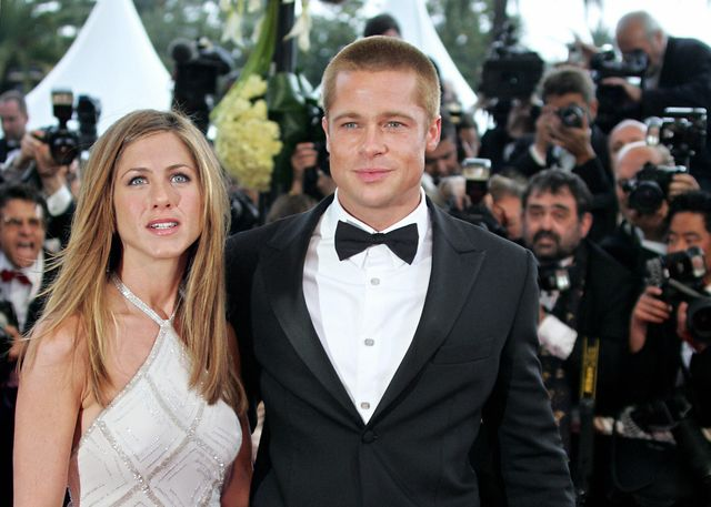 cannes, france  us actor brad pitt and his wife jennifer aniston arrive to attend the official projection of us director wolfgang petersens film troy, 13 may 2004, at the 57th cannes film festival in the french riviera town hollywood took over the french riviera today as brad pitt and his co stars of the epic movie arrived to present their 175 million dollar 147 million euro plus swords and sandals feature, being shown out of competition, in the blaze of cannes publicity  afp photofrancois guillot  photo credit should read francois guillotafp via getty images
