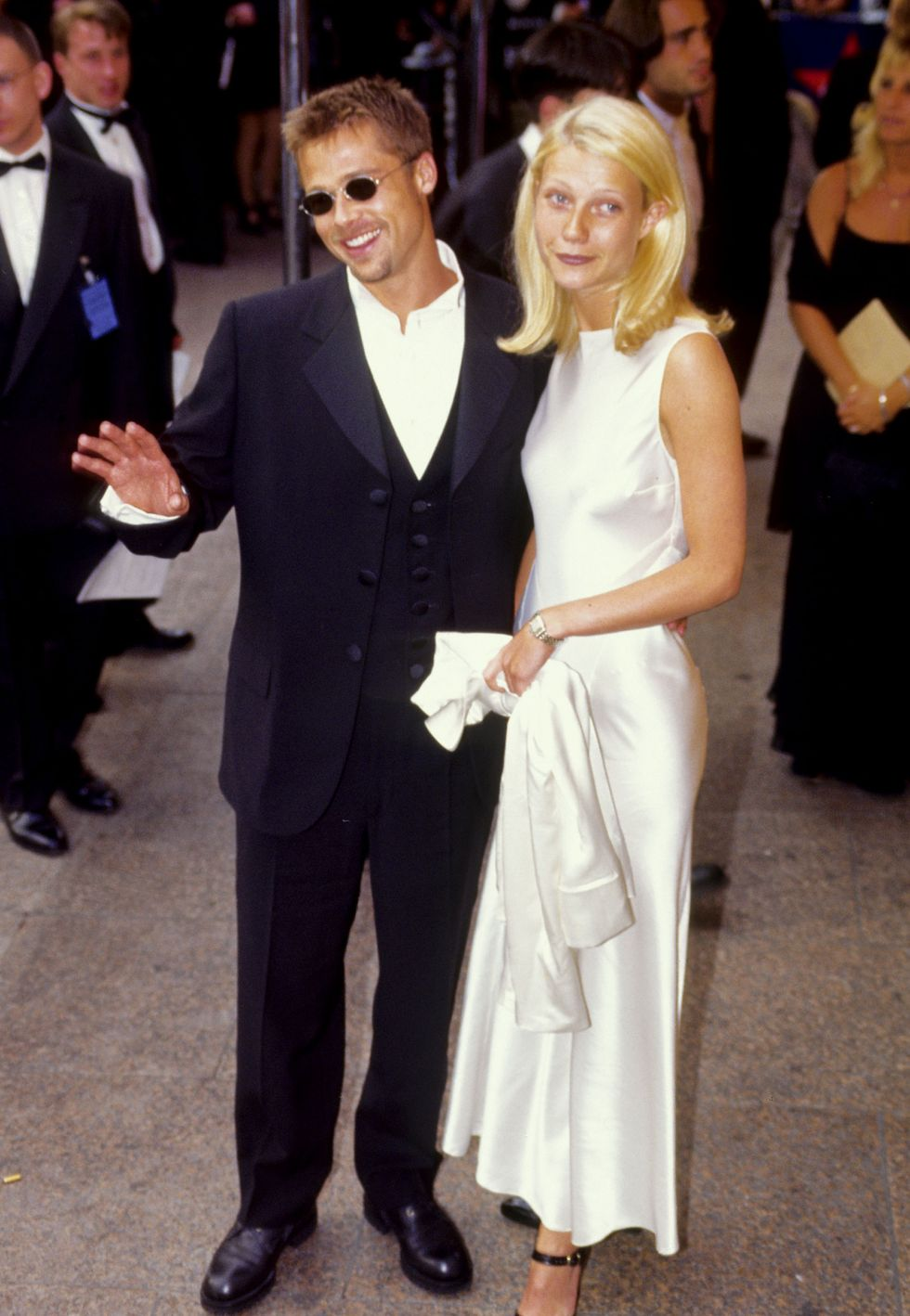 """1995: A Second Engagement Pitt and Gwyneth Paltrow met in 1994 on the set of Se7en and quickly became the """"it"""" couple of Hollywood. They went on to get engaged before eventually breaking it off in 1997."""