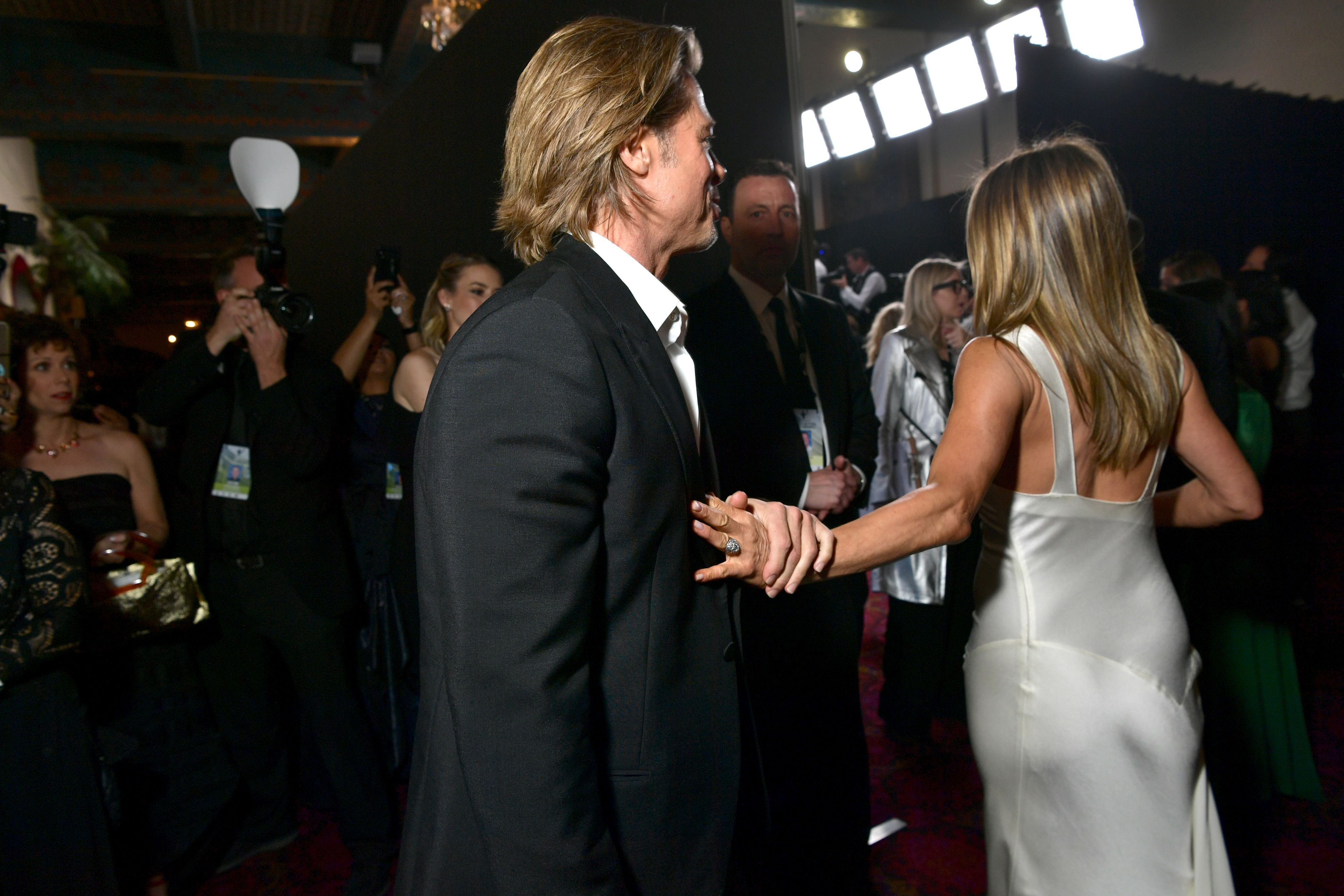 Twitter Is Losing It Over Brad Pitt and Jennifer Aniston's Backstage SAGs Photos