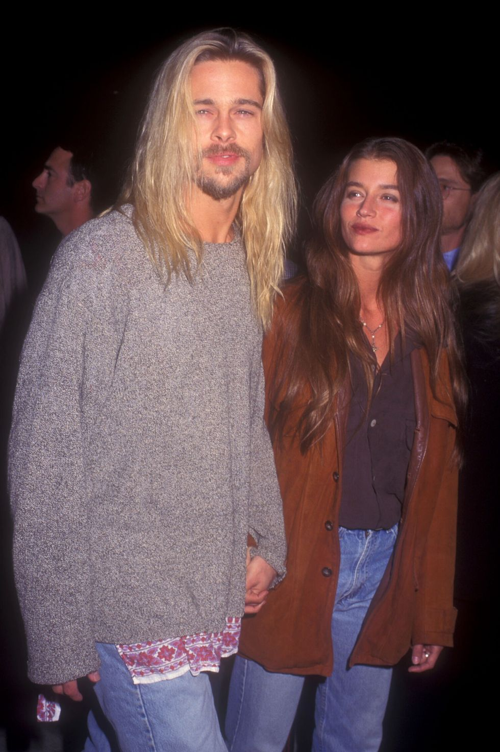 """1994: Red Carpet Romance Pitt with then-girlfriend Jitka Poheldek at the premiere of Legends of the Fall. The actor said he enjoyed making the film much more than his pervious hit, Interview with the Vampire, because he """"never saw the sun"""" when playing the undead Louis, telling Vanity Fair that it """"messed with [his] day."""""""