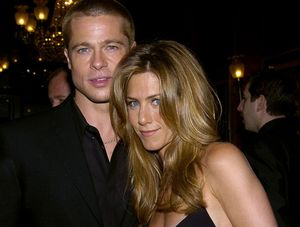 Brad Pitt and wife Jennifer Aniston attend the U.S. premiere