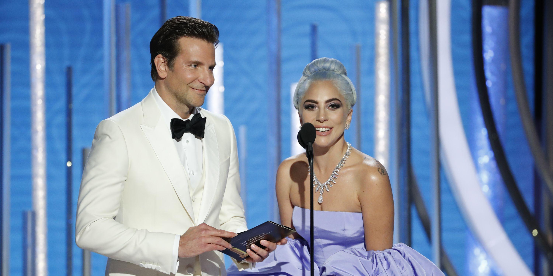 Bradley Cooper en Lady Gaga tijdens de Golden Globes 2019