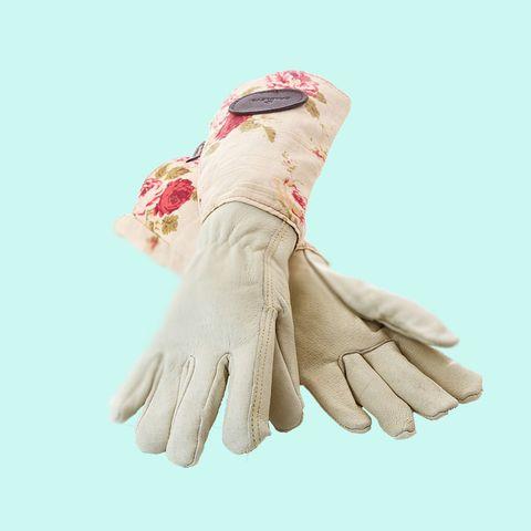 Bradleys Floral English Rose Leather and Linen Gardening Gloves