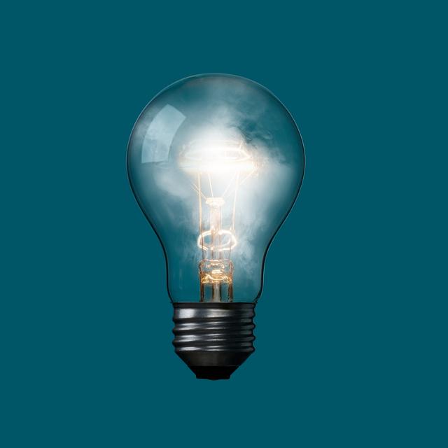 light bulb with fog inside
