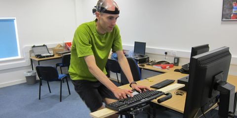 Performing brain training tasks on a bicycle.