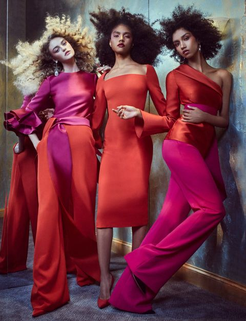Fashion model, Clothing, Red, Pink, Fashion, Dress, Haute couture, Formal wear, Beauty, Shoulder,