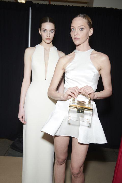 Fashion model, White, Clothing, Fashion, Dress, Beauty, Shoulder, Leg, Cocktail dress, Skin,
