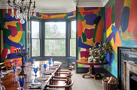 Colorful painted walls in dining room