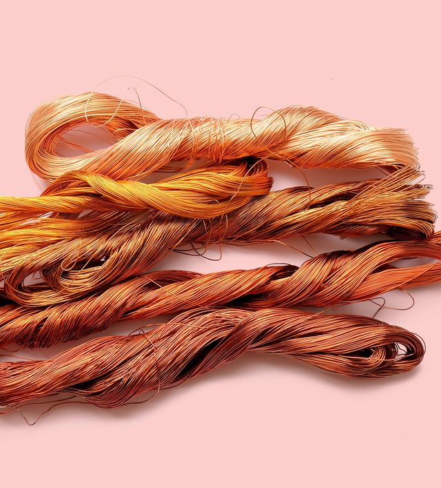 scrap copper wire isolated on white background