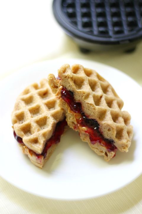Mini Peanut Butter Jelly Waffle Sandwiches Kid Friendly Breakfast Recipe