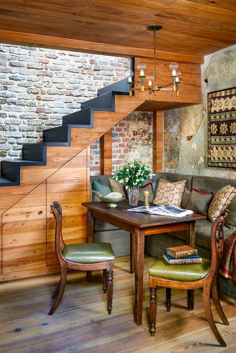 small nook under stairs in rustic house
