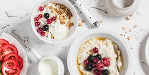 Breakfast - oatmeal, fried egg, cottage cheese, berries, granola