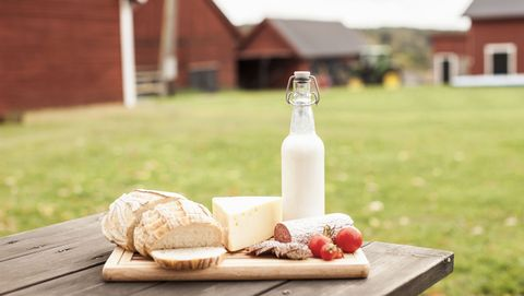 Breakfast on table at farm