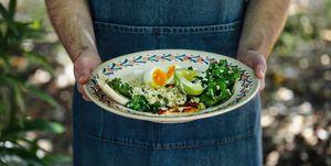 Breakfast salad with quinoa, egg, halloumi and tahini dressing