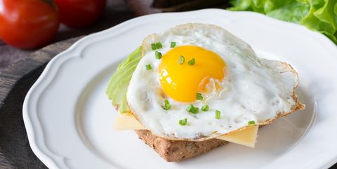 Breakfast toast with egg, avocado and cheese