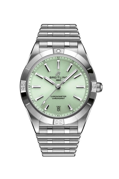 breitling a10380101l1a1 chronomat automatic 36 stainless steel   green