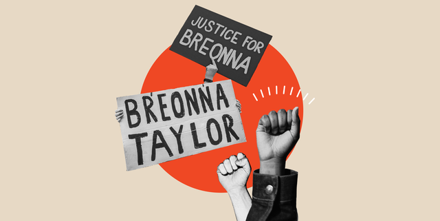 """hands holding signs that say """"justice for breonna"""" and """"breonna taylor"""""""