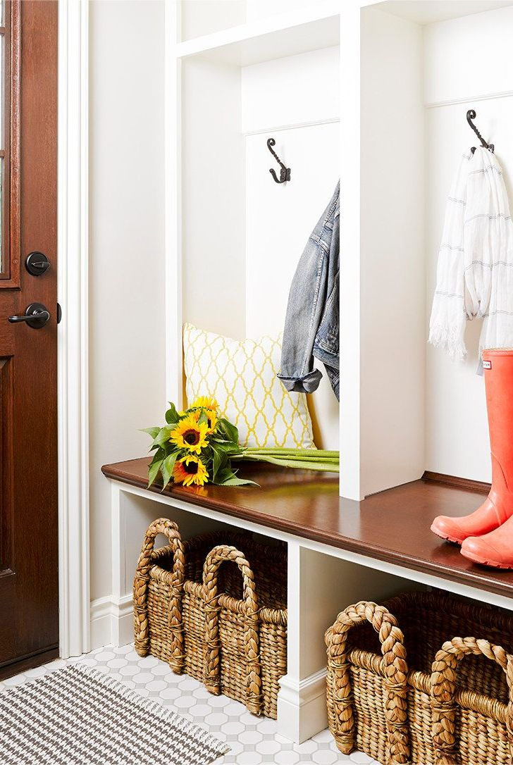 mudroom with wicker baskets