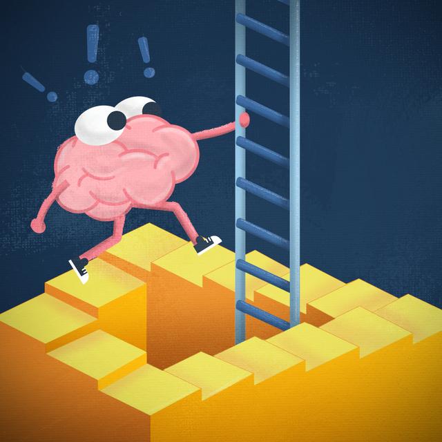 brain climbing up ladder