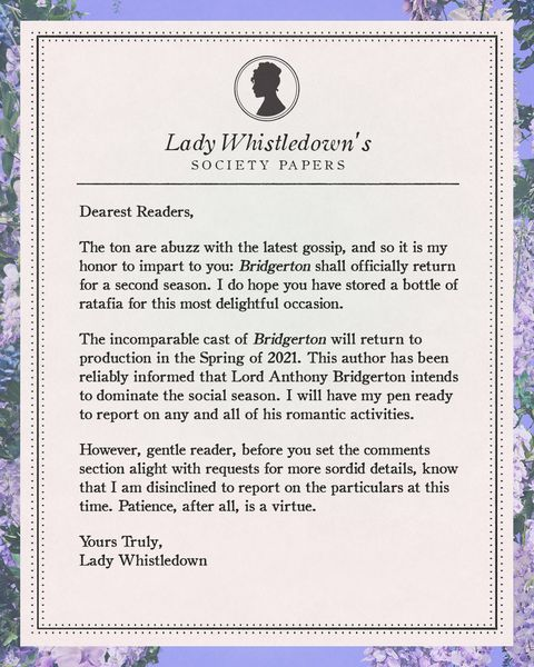 netflix's announcement for season 2 of bridgerton, in the form of a gossip pamphlet