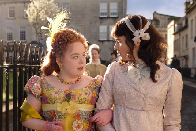 "nicola coughlan as penelope featherington and claudia jessie as eloise bridgerton in the shondaland series ""bridgerton"" on netflix"