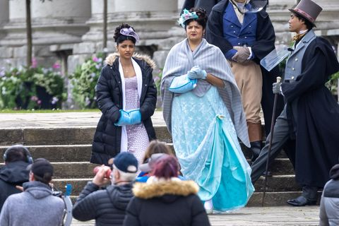 priya kansara and melissa advani on the set of bridgerton season 2
