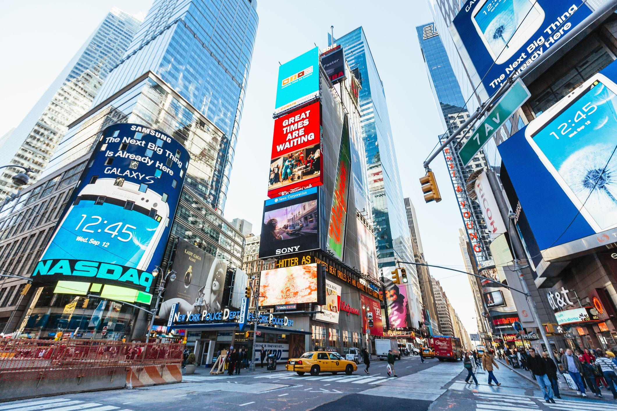 Bright advertising screens on Times Square, Manhattan, New York City, USA