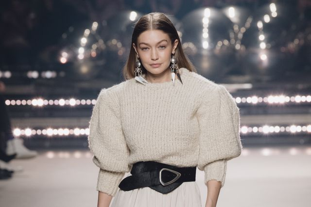 bright eyeshadow, paris, france   february 27 editorial use only gigi hadid walks the runway during the isabel marant show as part of paris fashion week womenswear fallwinter 20202021 on february 27, 2020 in paris, france photo by kristy sparowgetty images