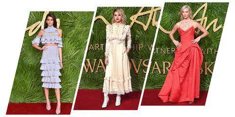 Dress, Clothing, Bridal party dress, Gown, Fashion, Pattern, Carpet, Red carpet, Formal wear, Day dress,