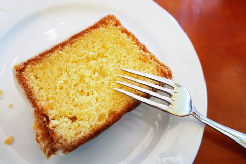 High Angle View Of Lemon Cake Slice With Fork In Plate