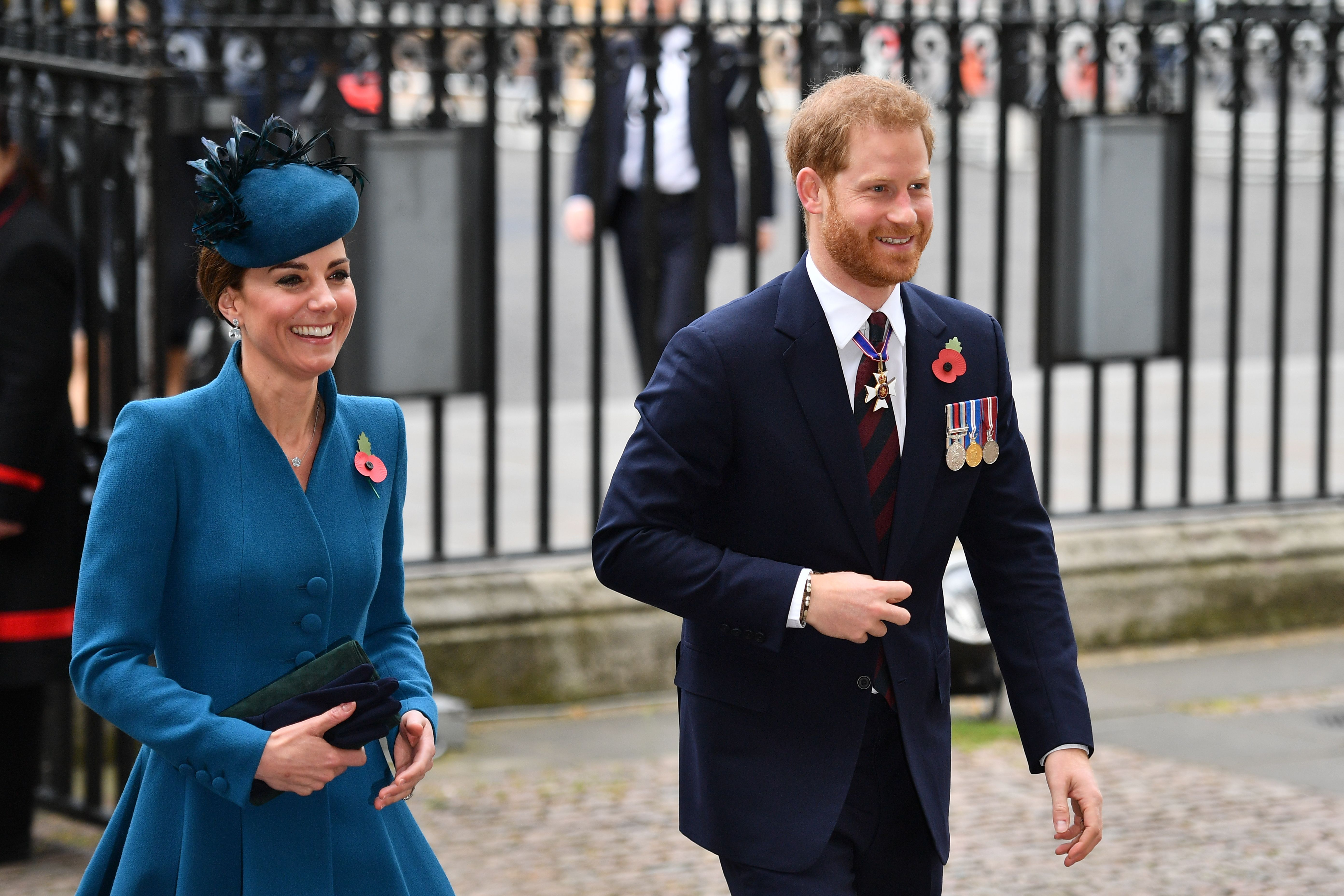Kate Middleton and Prince Harry Made Their Relationship Status Clear Arriving at Anzac Day's Westminster Abbey Service