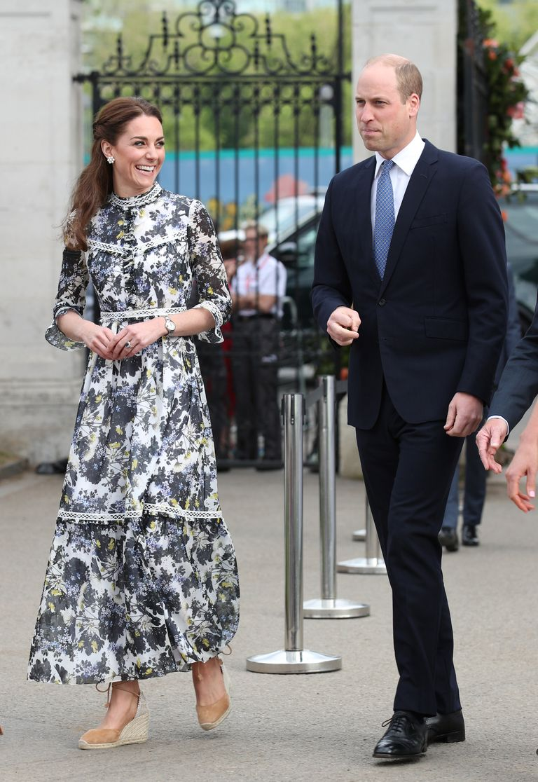 To show the Queen a garden she'd designed at the Chelsea Flower Show, the Duchess went for a high-necked, floral Erdem dress , along with a pair of summery espadrilles.