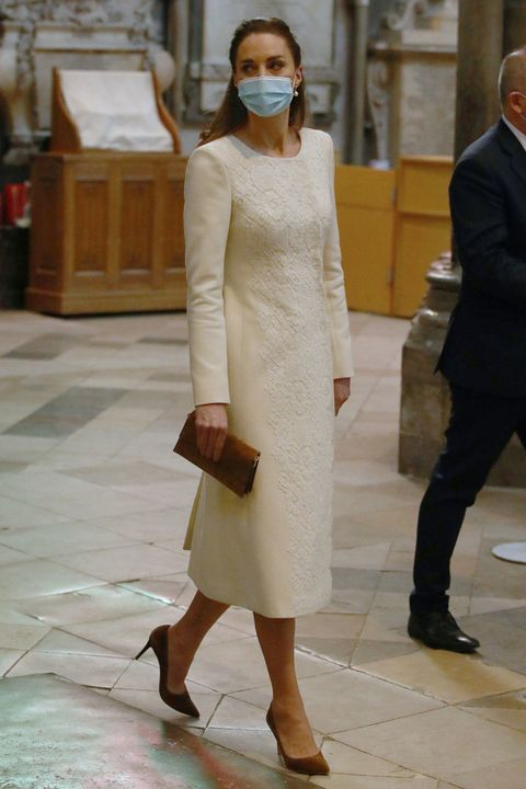 Kate Middleton Wears a White Catherine Walker Coat Dress to Westminster Abbey