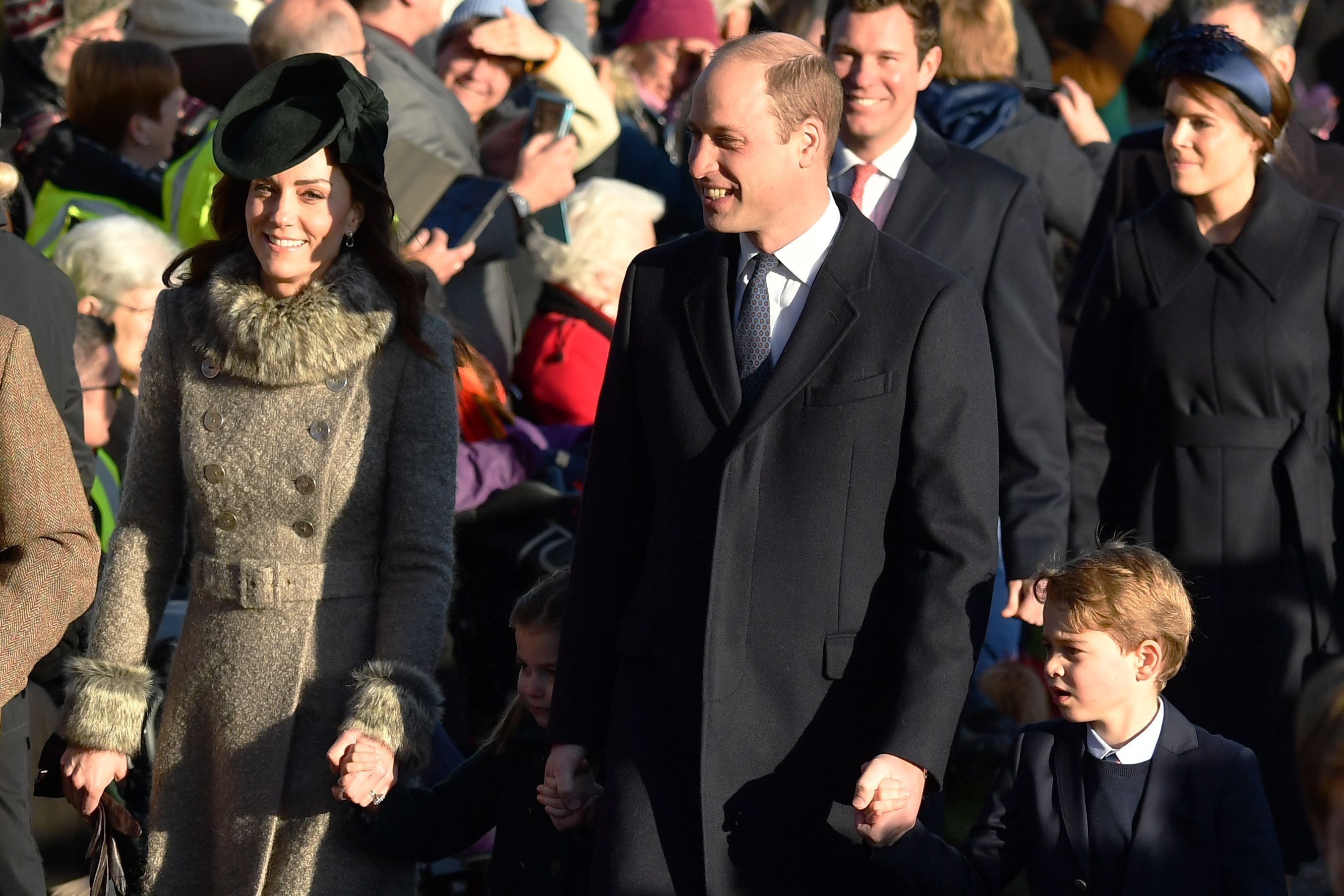 The royal family arrive for Christmas Day service at Sandringham