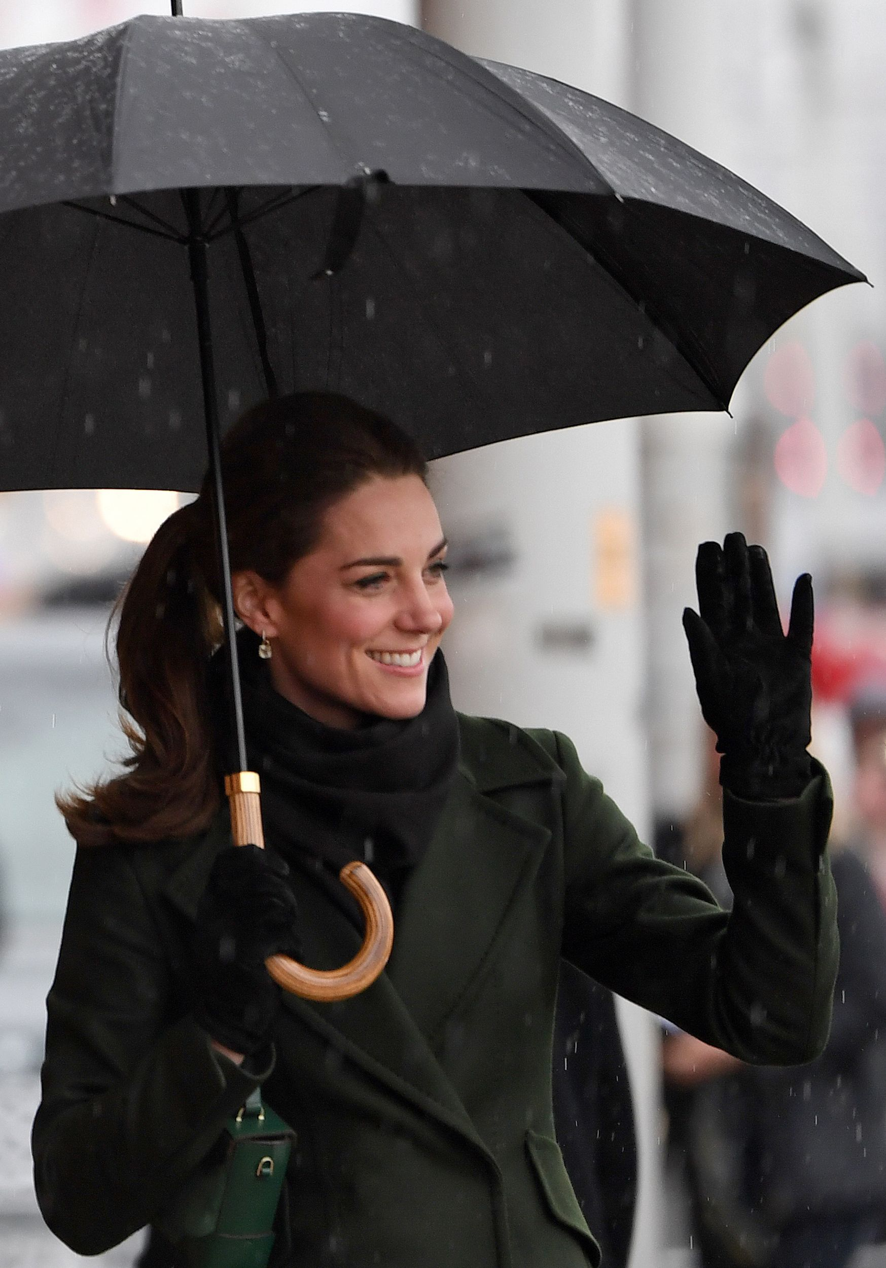 ef3f74fc3733 Kate Middleton Stuns In Olive Green Coat For Blackpool Visit With Prince  William
