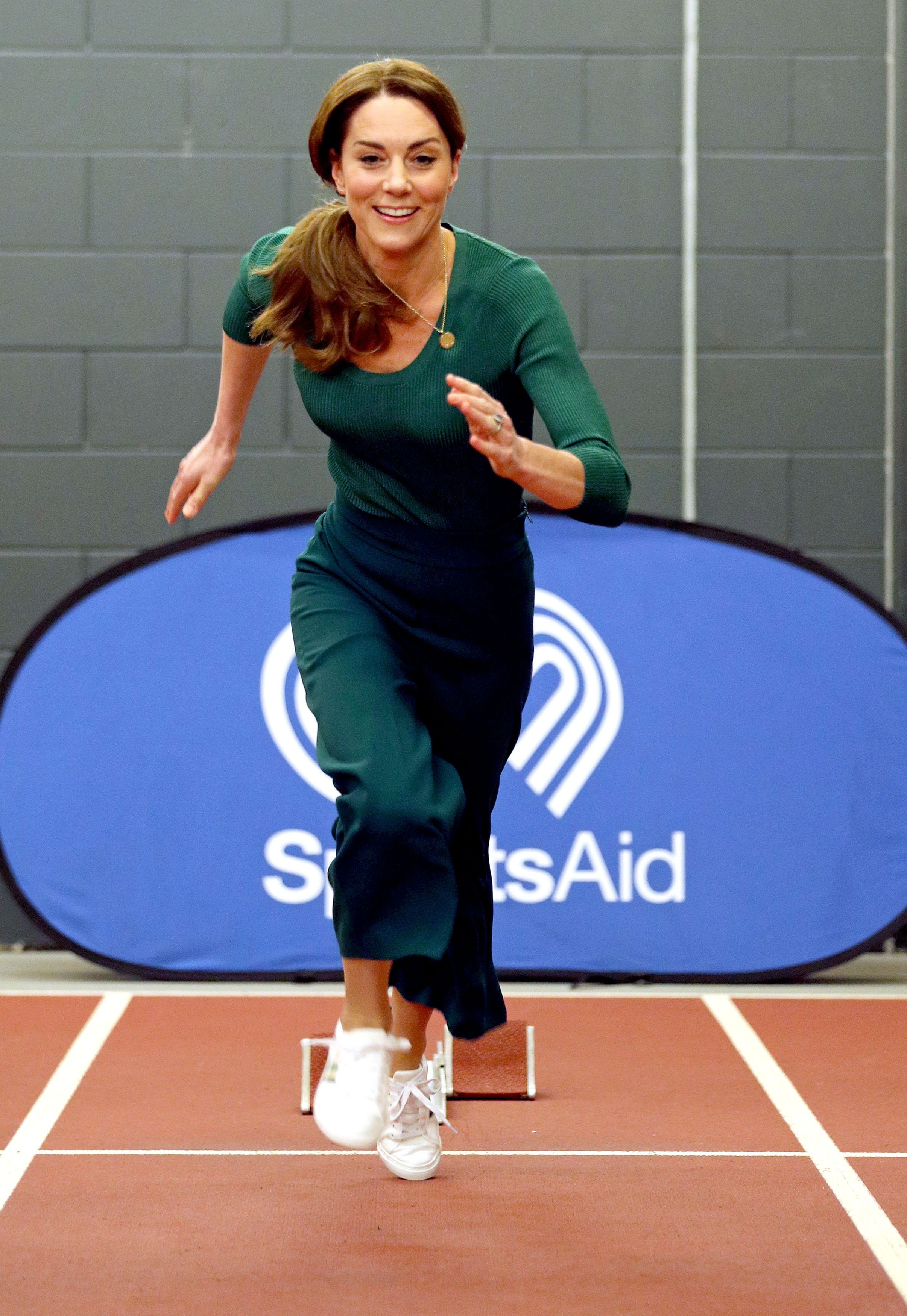 The Duchess of Cambridge shows off her sporting prowess in London