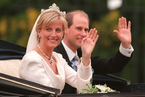 britain's prince edward and sophie rhys jones wave