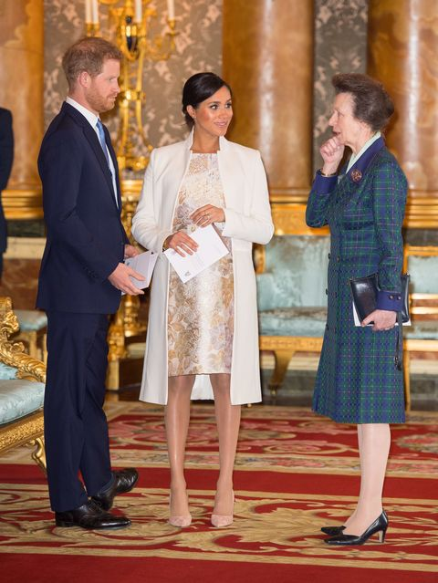 Image result for princess anne, meghan and harry at prince charles anniversary reception