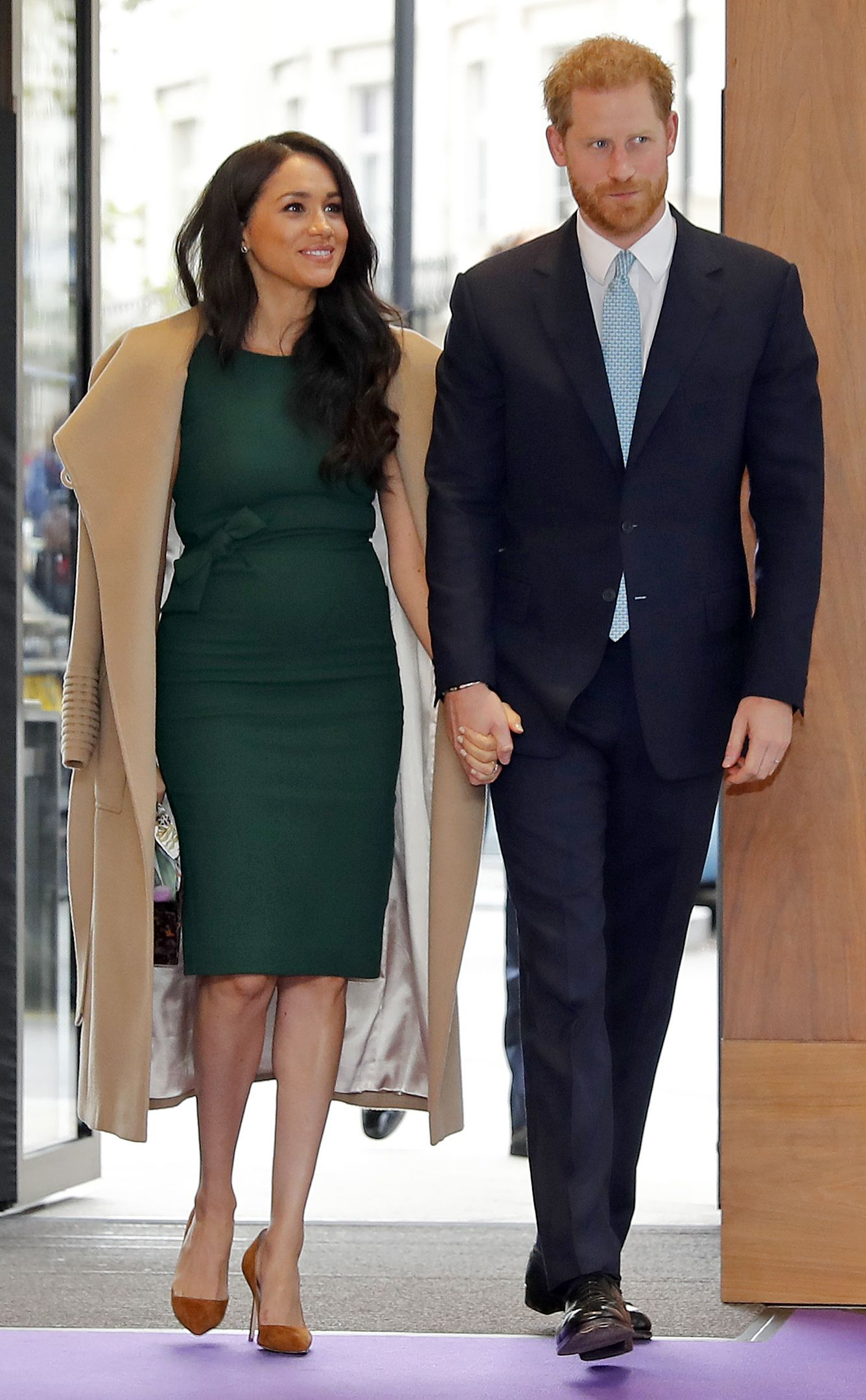 Meghan Markle Wears a Green Dress and Tan Coat to the WellChild Awards