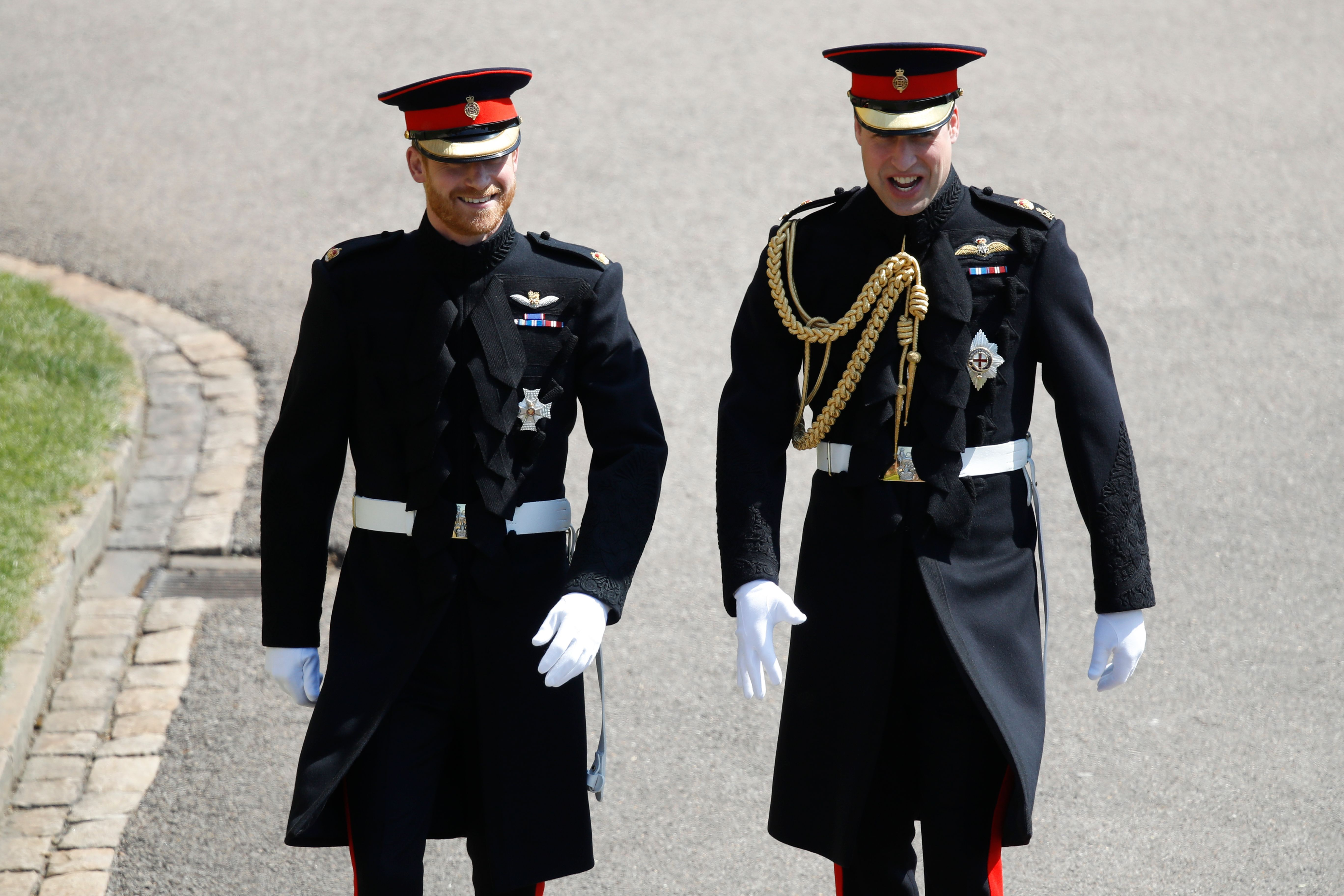 Prince Harry with his brother William at the royal wedding in May of 2018.