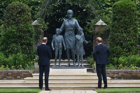 Prince Harry and Prince William at the unveiling of the statue of Princess Diana