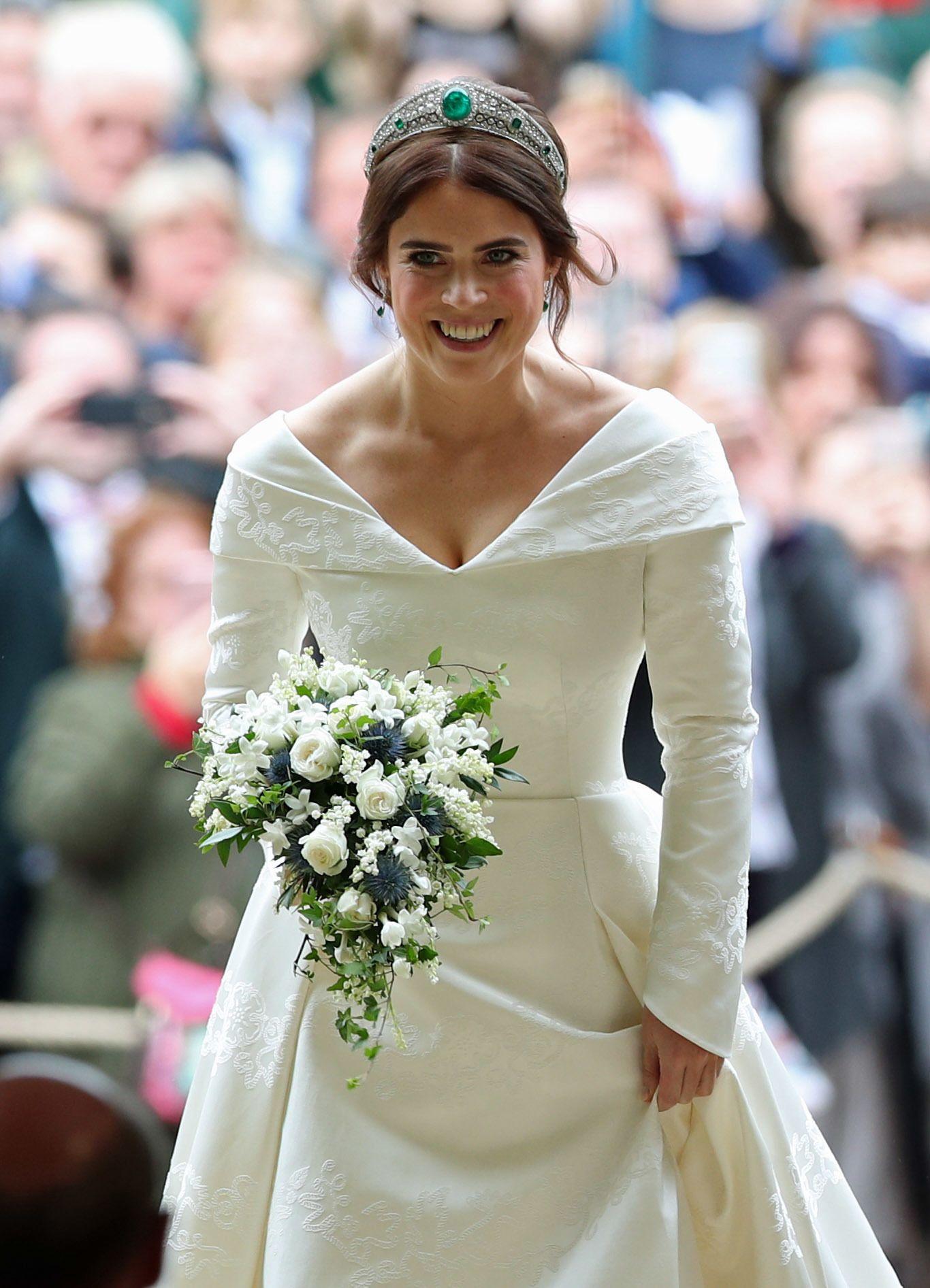 princess eugenie s wedding dress compared to meghan markle kate middleton princess diana s meghan markle kate middleton