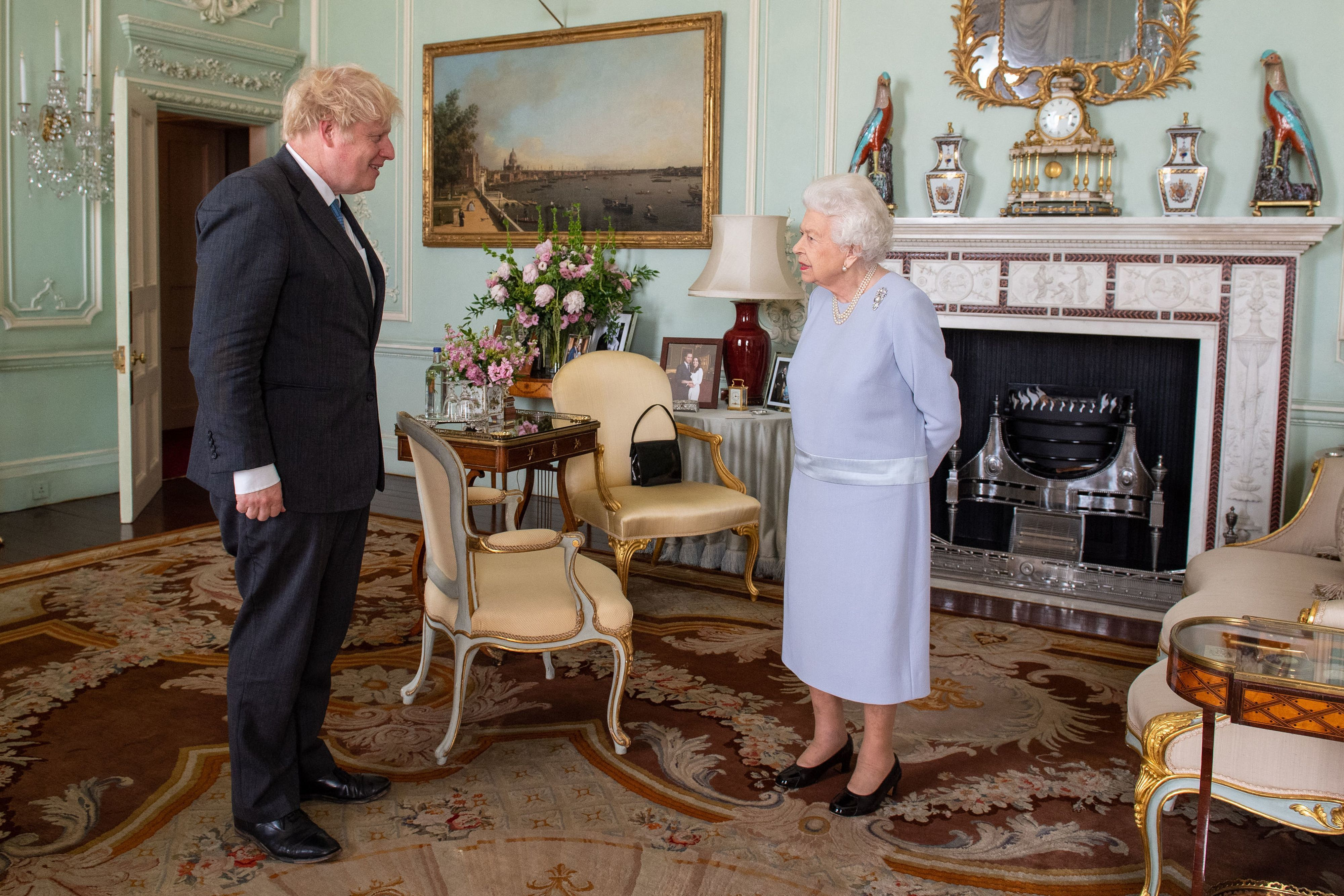The Queen Has a Sweet Photo of Prince Harry and Meghan Markle in Her Office