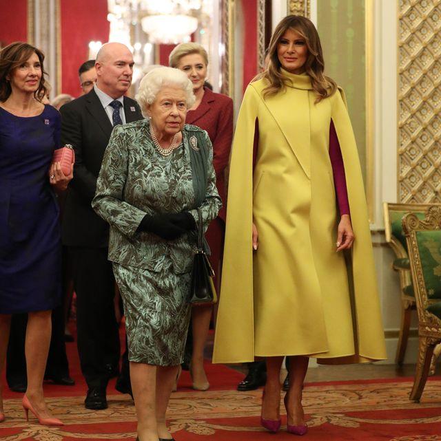 queen elizabeth buckingham palace nato summit reception melania trump