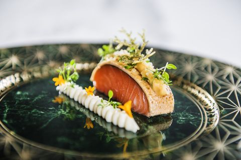 A traditional Nordic salmon dish served at Speilsalen restaurant at the Britannia Hotel in Trondheim, Norway